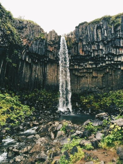 EyeEmNewHere EyeEm Nature Lover Vscocam Svartifoss Iceland Waterfall Rock - Object Rock Formation Scenics Nature Water Beauty In Nature Cliff Travel Destinations Power In Nature Purity Motion No People