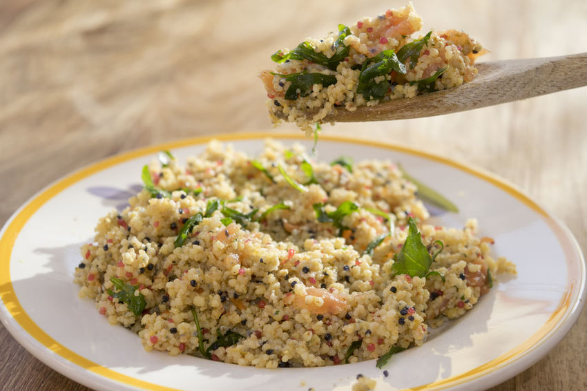 couscous salad with smoked salmon and caviar Couscous Arab Arabic Cous Cous Food Salad Salmon Smoked