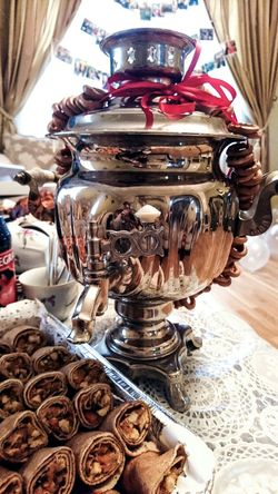 Indoors  Kitchen Utensil Close-up No People Day Food Photography Guesthouse Lifestyles Party Time Party Nice Atmosphere Angelina B Sony Xperia Photography. Samovar Pankakes Russian Tradition Food And Drink Party Table Table Dessert Illuminated Shiny Luxury Creativity Nice Evening