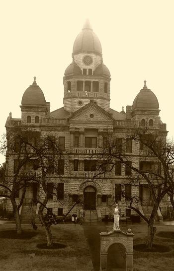 Architecture Building Exterior Built Structure City Day Denton County Denton County Courthouse Denton, Texas Dome Fog Foggy History No People Outdoors Rebel Statue Sky