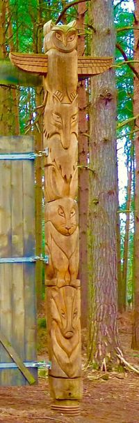 Rushmere Park Wood Carving Totem Animal Carvings Owl Rabbit Fox