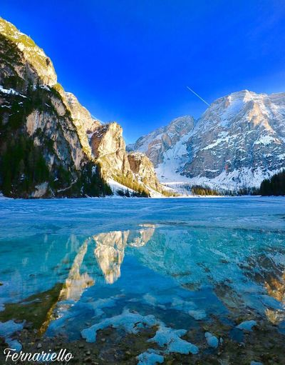 Water Blue Sky Beauty In Nature Tranquility Scenics - Nature Tranquil Scene Idyllic Plant Reflection Day Outdoors Mountain No People Lake Nature Non-urban Scene Winter Tree