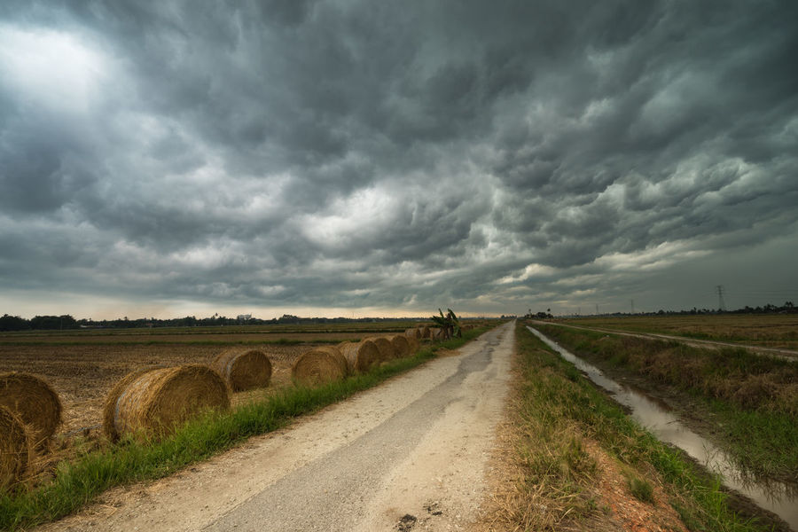 A cloudy scenery with rolls of haystack in Sungai Besar, Malaysia. Cloudy Sky Darkness Haystack Horizon Paddy Field Rainy Day Road Rural Scary