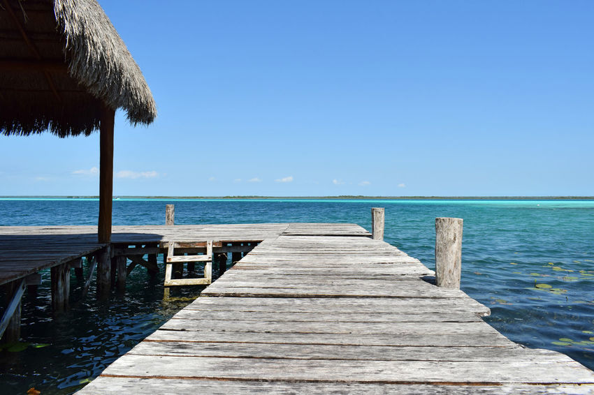 Bacalar Bacalar Lagoon Mexico Wooden Deck Beach Blue Clear Sky Day Deck Dock Horizon Over Water Nature Outdoors Pier Scenics Sea Sky Tranquil Scene Water Wood - Material