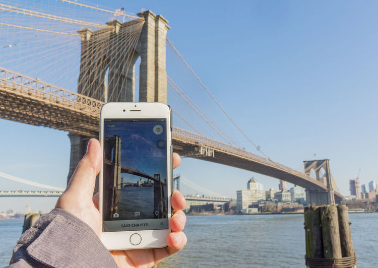 Photograph being taken with smart phone of brooklyn bridge Bridge Brooklyn Bridge  Brooklyn Bridge / New York New York New York City New York ❤ Phone Smart Phone Urban EyeEmNewHere Been There.