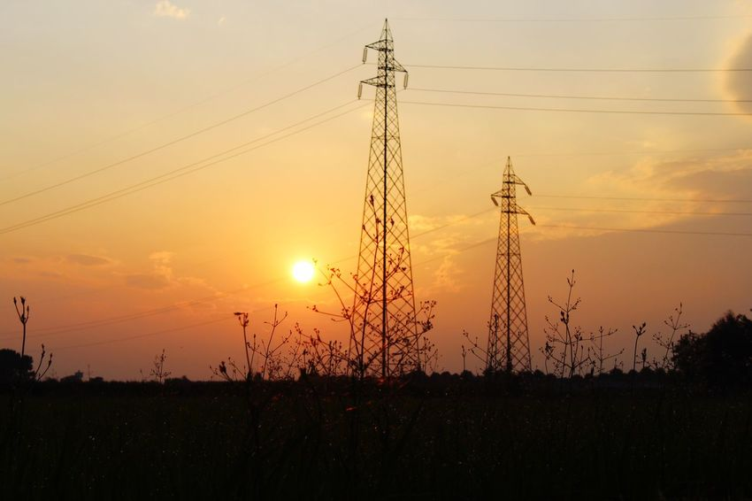 Sunset Sky Electricity  Cable Silhouette Electricity Pylon Technology Fuel And Power Generation Orange Color Tranquil Scene Beauty In Nature Scenics - Nature Tranquility Sun