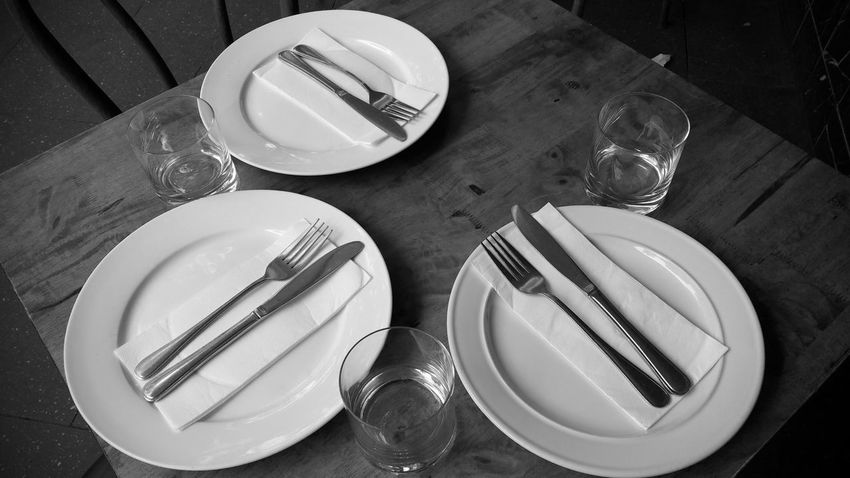 Table for 3 Al fresco High Angle View Plate Fork Table Spoon Indoors  Food And Drink Eating Utensil No People Food Empty Plate Close-up Day Black And White
