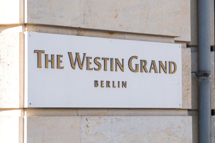 Plate of the Westin Grand Hotel Berlin, luxury business hotel located on Friedrichstrasse in the Mitte district Holiday Holidays Travel Traveling Travelling Vacations Westin Grand Hotel Westin Hotel Architecture Building Exterior Close-up Hotel Information Information Sign No People Outdoors Sign Vacation Westin