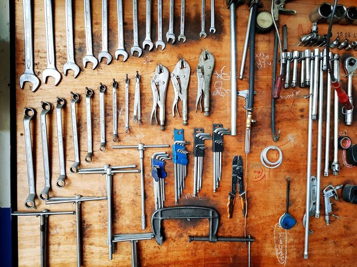 Close-up of various work tools on wooden wall