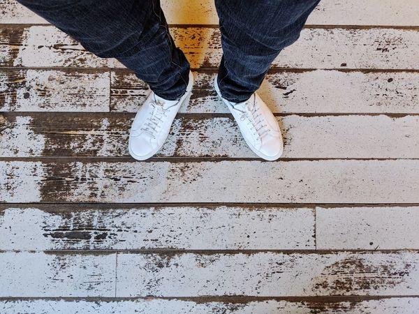 Low Section Men Standing Human Leg Shoe Human Foot Jeans Limb Close-up