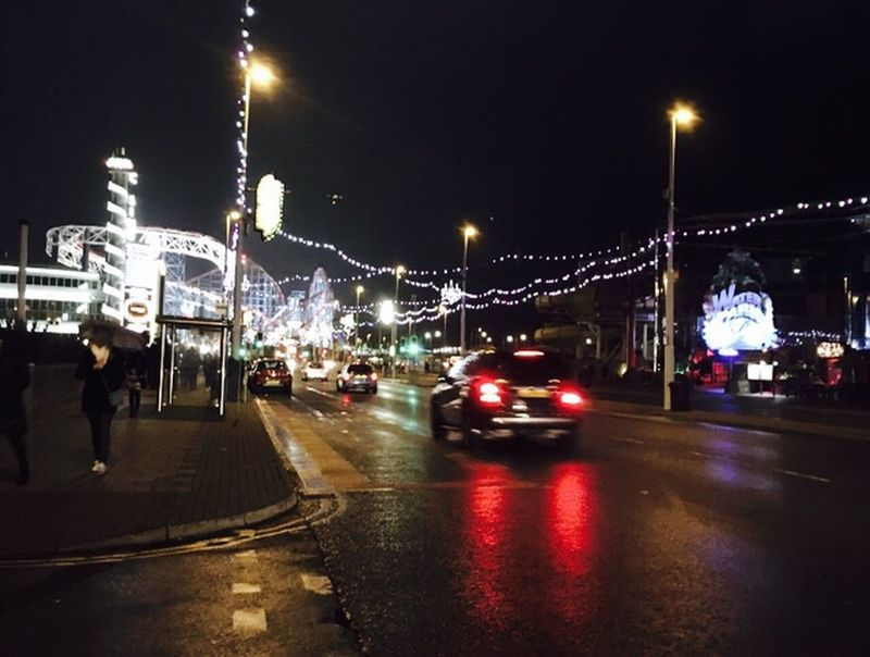 Capturingmotion Blackpool Evening Lights Traffic