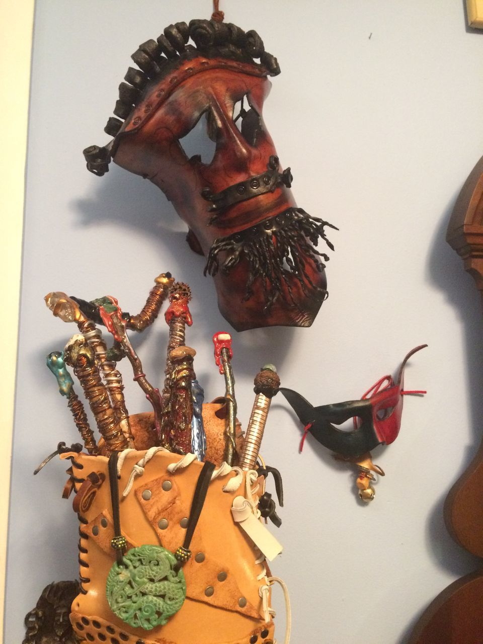 representation, art and craft, indoors, no people, still life, creativity, decoration, close-up, craft, human representation, sculpture, food, hanging, wall - building feature, mammal, choice, livestock