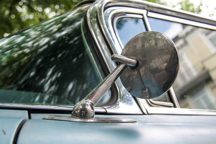 Blue Cadillac Cadillac Deville Car Chrome Close-up Focus On Foreground No People No People Outdoors Outdoors Side Mirror Vintage Car