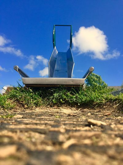 Sky Day Blue Outdoors No People Nature Beauty In Nature Slide Park Low Angle View Grass Metal Shiny