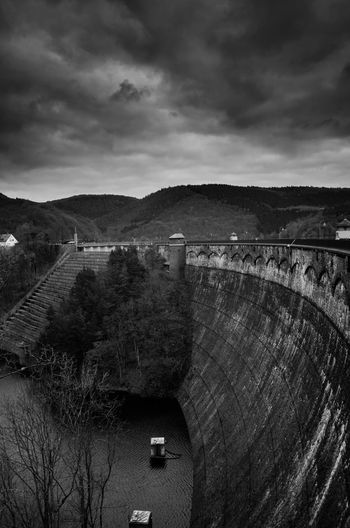 Black & White Eifel Germany Architecture Beauty In Nature Black And White Blackandwhite Built Structure Cloud - Sky Dam Day Eifel Hydroelectric Power Nature Outdoors Sky Urftsee Water