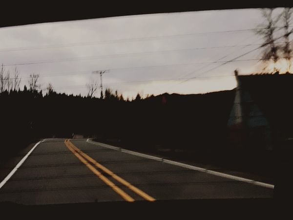 take a back road Window Car Window Back Roads Sunset Country Road PNW Road No People Outdoors Tree Sky Road Sign