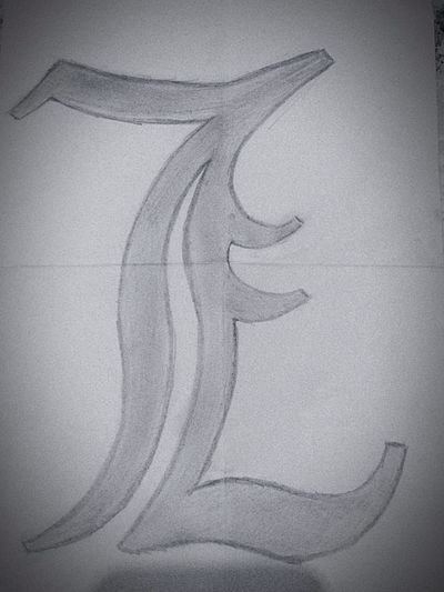 "Such a fabulous symbol drawn for me by a fantastic girl. The one and only ""L"" from Death Note. Anime Death Note"