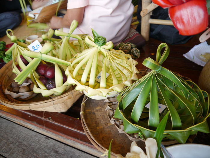 High angle view of food in decorative baskets