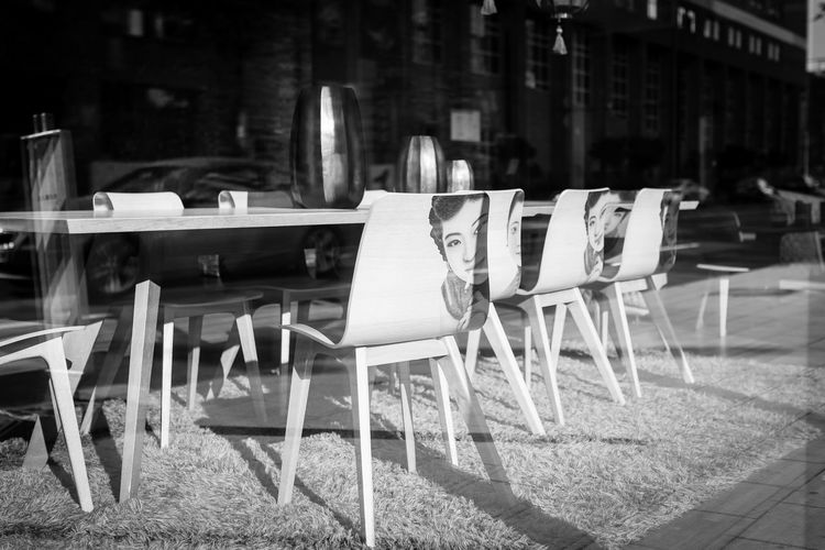Faces Chair Seat Table No People Restaurant Furniture Glass Glass - Material Sunlight Empty Business Wood - Material Chairs Chairs And Tables Face Faces Monochrome Blackandwhite Black And White Canon Canonphotography Shop Germany Deutschland Düsseldorf