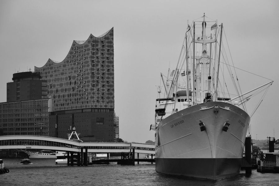 Hamburg Water Architecture Day Built Structure Sky Clear Sky No People City Harbor Nautical Vessel Mode Of Transport Building Exterior Nikon Nikonphotography Nikon D5200 Elbphilharmonie Elbphilharmony Elbe Elbe River Blackandwhite Black And White Black & White Blackandwhite Photography B&w EyeEmNewHere The Street Photographer The Architect - 2017 EyeEm Awards The Street Photographer - 2017 EyeEm Awards