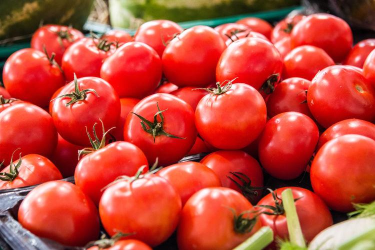 Close-up of tomatoes at market stall