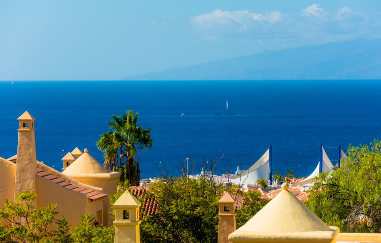Architecture Blue Canarie Costa Adeje Day High Angle View Horizon Over Water Hotel Tagoro Isole Canarie Nature No People Oceano Orizzonte Outdoors Roof Scenics Sea Sky Summer Tenerife Travel Travel Destinations Tree Vacations Water Lieblingsteil Miles Away