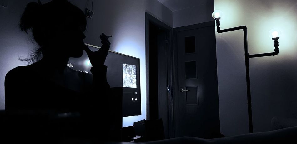 Thinking About Woman In Black Chilling Calm And Serene Chillout Passion Temper Domestic Room Silhouette Autumn Mood