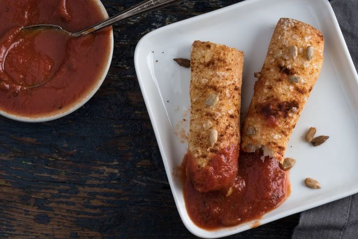 Bread stick and red dipping sauce Food Ready-to-eat Plate High Angle View No People Bread Stick Red Dipping Sauce