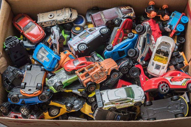 High angle view of toys