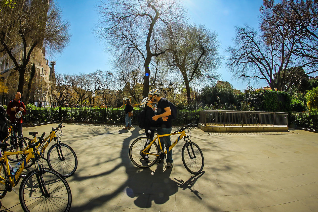 bicycle, real people, tree, land vehicle, transportation, two people, mode of transport, leisure activity, lifestyles, men, outdoors, day, cycling, sky, full length, road, togetherness, architecture, bare tree, nature, people