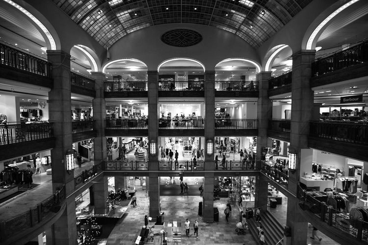High angle view of people shopping at mall