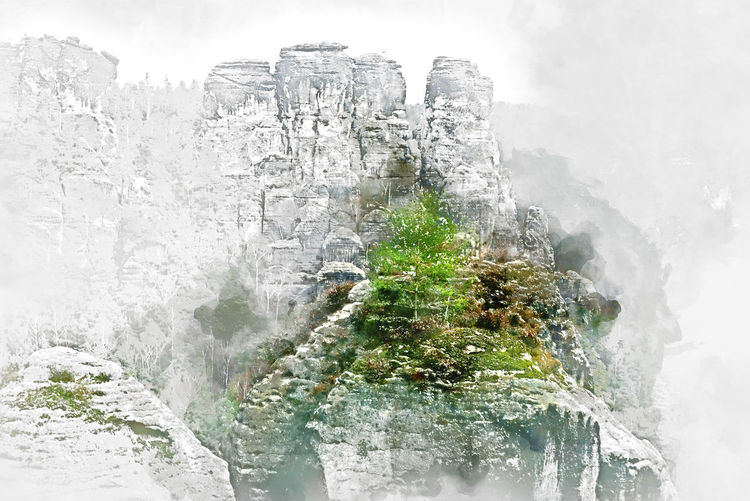 Digital watercolor painting of Bastei. It is a rock formation towering 194 metres above the Elbe River in the Elbe Sandstone Mountains of Germany, major landmark of the Saxon Switzerland National Park. Germany Abstract Altered Art ArtWork Bastei Computer Generated Digital Art Digital Drawing Digital Illustration Digital Painting Digitally Generated Europe Generated Germany Graphic Illustration Landscape Nature Outdoors Picture Rocky Mountains Saxon Switzerland Travel Destinations Watercolor Watercolor Painting