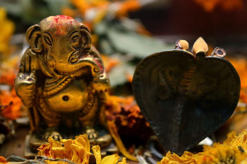 Close-up of ganesha and cobra idols with flowers