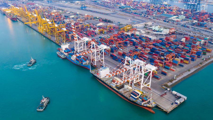 High angle view of commercial dock  shipping containers business services by sea