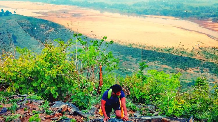 CLIMBING MY DREAM IN MY WAY Hills Rivers Greenery Climber Climbing A Mountain Top View The Portraitist - 2018 EyeEm Awards Agriculture Water Rural Scene Social Issues Women Landscape Sky Grass