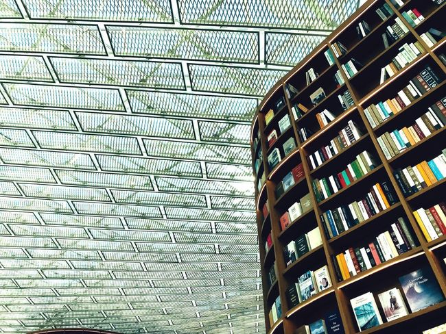 Glass Roof Modern Architecture Library Books Starfield Library ShotOnIphone Seoul Seoul, Korea Built Structure Architecture Pattern Low Angle View No People Building Exterior Building Large Group Of Objects Art And Craft Textured  Glass - Material Arrangement Full Frame Shape Place Of Worship Backgrounds Ornate Design Wall - Building Feature Day