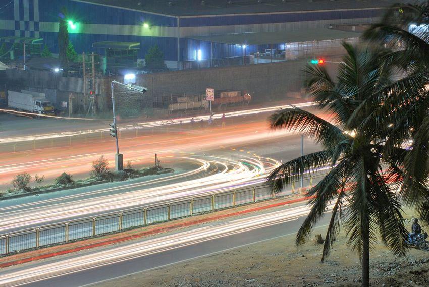 Indianroads Long Exposure Bangalore India Night Illuminated Street Street Light Light Trail Road No People Outdoors City Tree