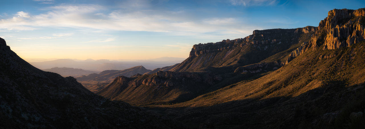 Scenic panoramic view of mountains against cloudy sky in big bend national park - texas