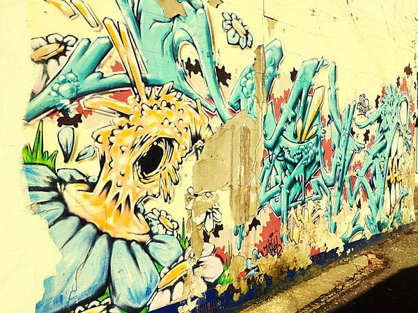 Street Art/Graffiti Creativity Multi Colored Close-up Wall Painting/grafitti Paint The Town Yellow