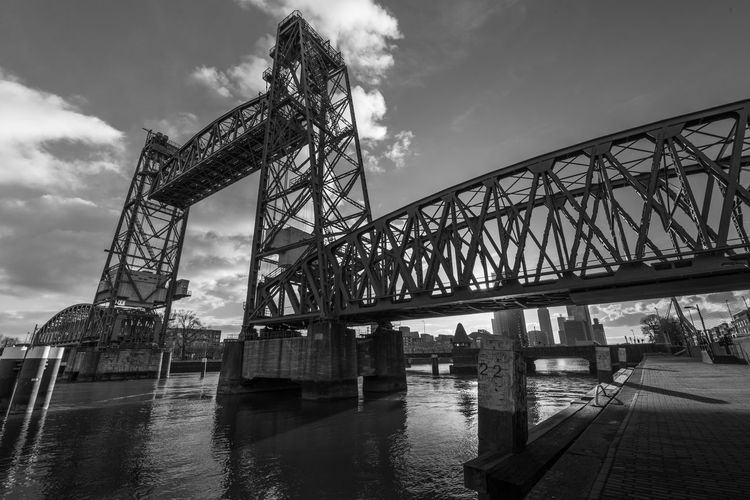 Rotterdam Netherlands Holland Bridge - Man Made Structure Bridge Water Harbour Waterside Maas River Built Structure Architecture Connection Sky Transportation Cloud - Sky Nature No People Metal Day Low Angle View Outdoors Railway Bridge Travel Ophaalbrug