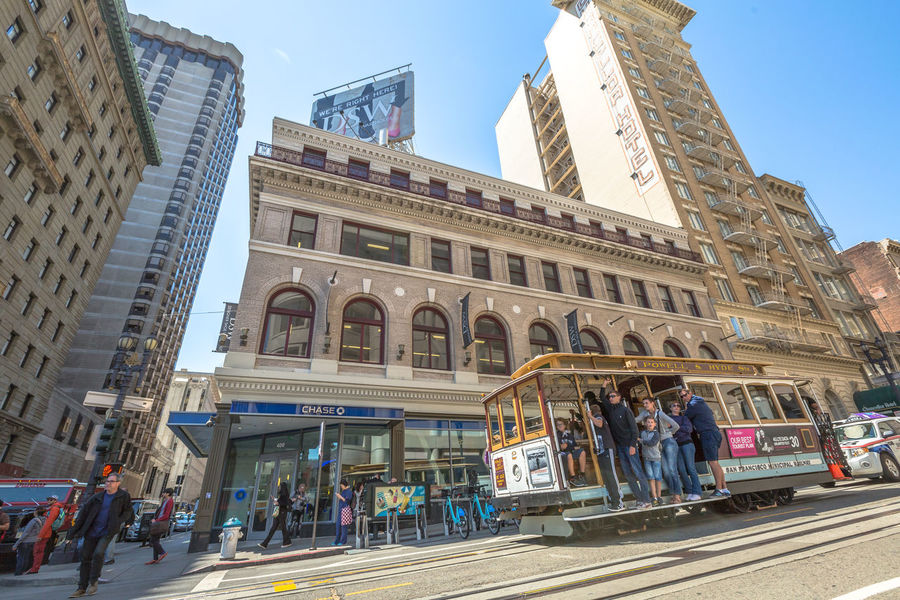 San Francisco, CA, United States - August 17, 2016: crowds of tourists in the popular Union Square, the central square of San Francisco on Market Street, known as the place shopping and luxury hotels. San Francisco, California, United States - August 17, 2016: the Big Bus, Hop On Hop Off, Sightseeing Tour, the popular double-decker bus carrying tourists, standing in Union Square, during a day tour. Cable Car California Market SF San Francisco Square Union Union Square SF United States Adult Architecture Building Exterior Built Structure City City Life Day Group Of People Large Group Of People Lifestyles Low Angle View Market Street San Francisco Market Street Men Modern Outdoors People Real People Sky Street Travel Travel Destinations Union Square  Unionsquare Walking Women
