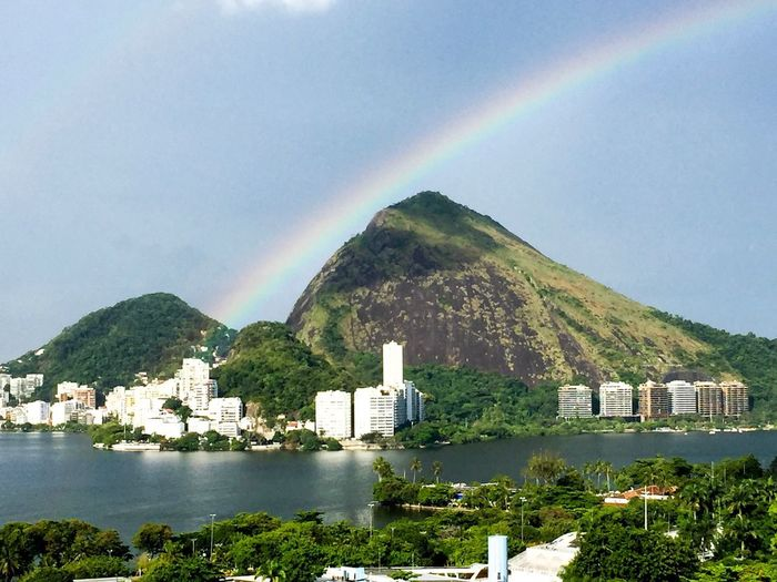 Golden moments Rainbow Architecture Sky Building Exterior Built Structure Tree Plant No People City Outdoors Building Water Day Beauty In Nature Double Rainbow Multi Colored Nature Mountain Scenics - Nature Cloud - Sky