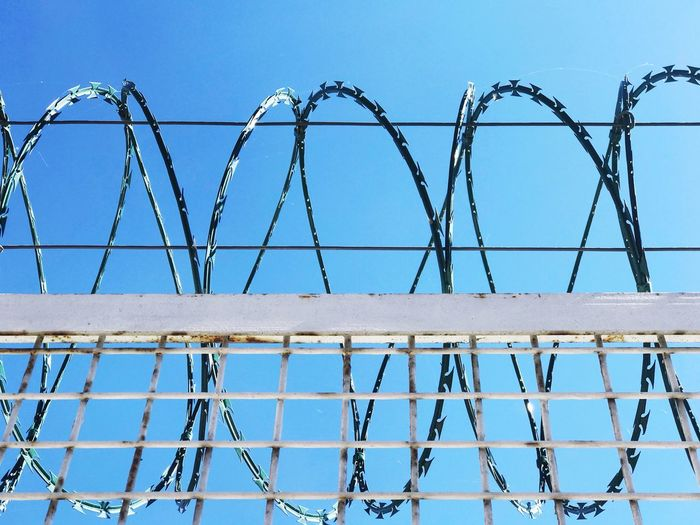 Low angle view of razor wire fence against clear blue sky