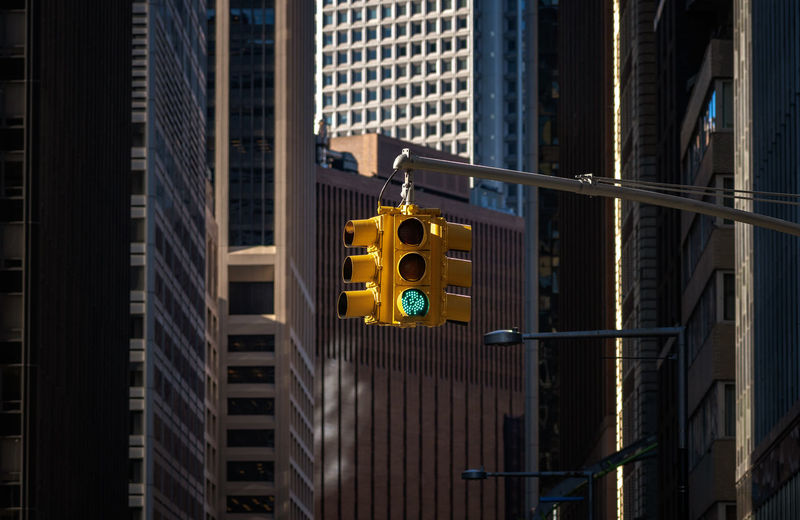Closeup traffic light, new york