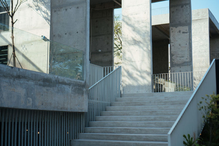 Architecture Built Structure Staircase Steps And Staircases Day Building Exterior Railing Building No People Outdoors Window Sunlight Nature City Glass - Material Abandoned Direction Wall - Building Feature The Way Forward Architectural Column Concrete