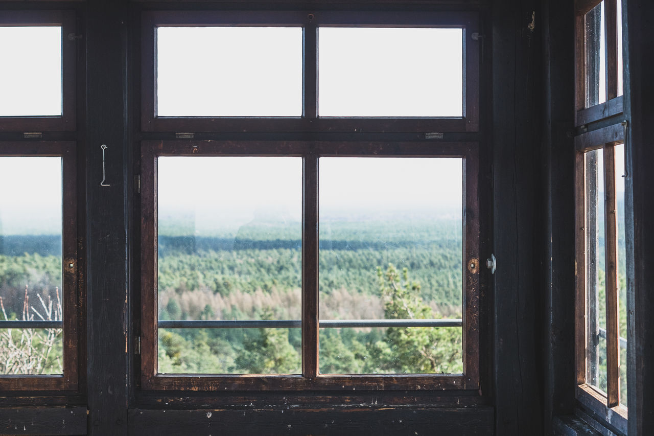 window, indoors, day, architecture, no people, looking through window, built structure, sky, tree, nature, close-up