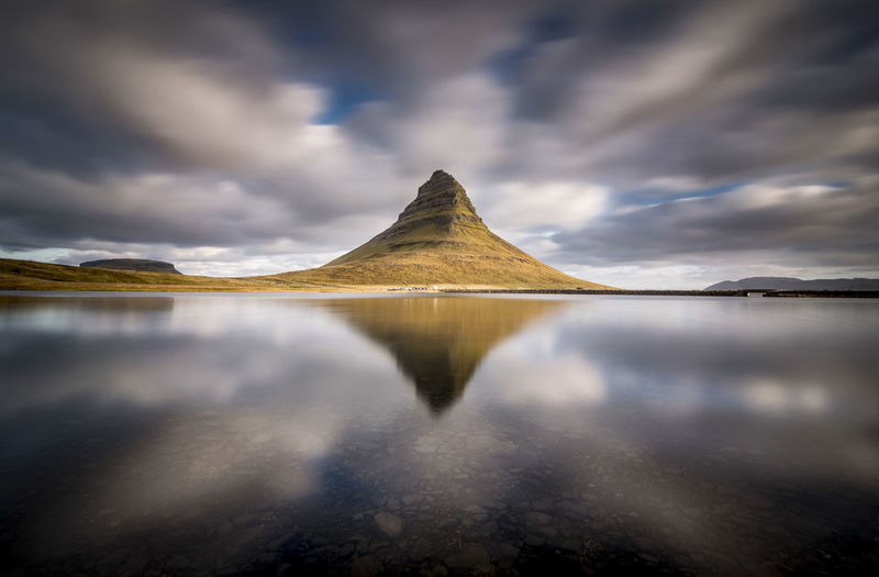Reflection Water Cloud - Sky Sky Scenics - Nature Lake Tranquil Scene Beauty In Nature Tranquility Nature Dramatic Sky Mountain Day No People Environment Landscape Idyllic Iceland Iceland_collection Kirkjufell Mountain Peak Reflections In The Water Long Exposure Landscape_Collection Simetry
