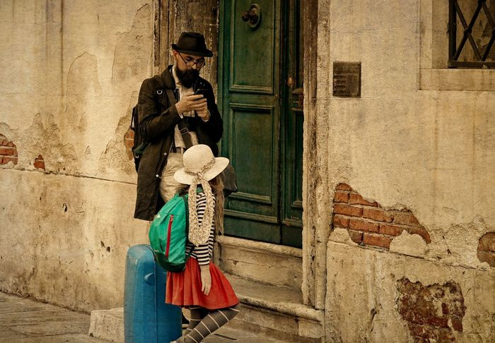 father and vivid daughter Architecture Bearded Man Building Exterior Colors Of Autumn Daughter Day Father Full Length Outdoors People Real People