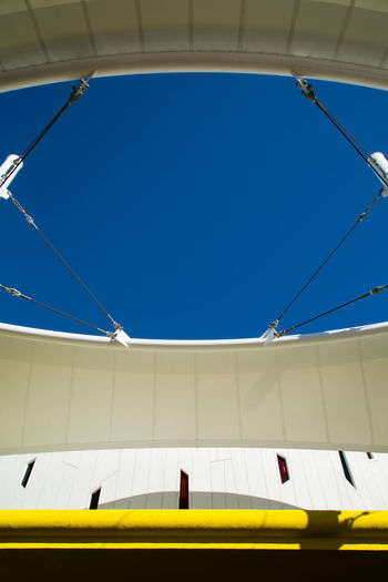Low angle view of tent against the sky