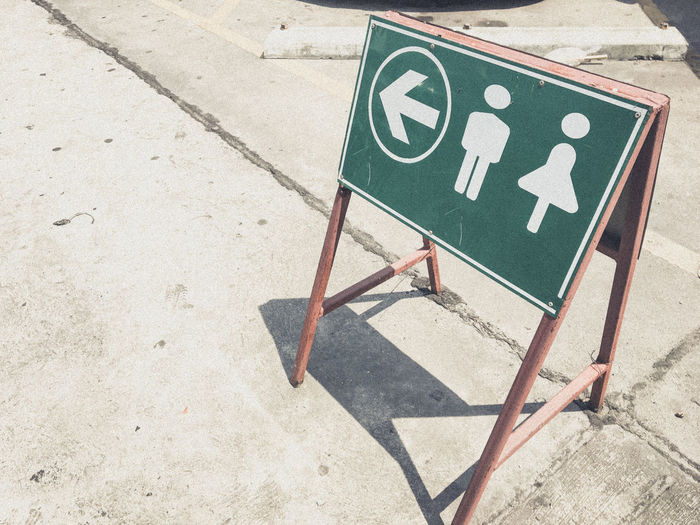 High angle view of restroom sign on street